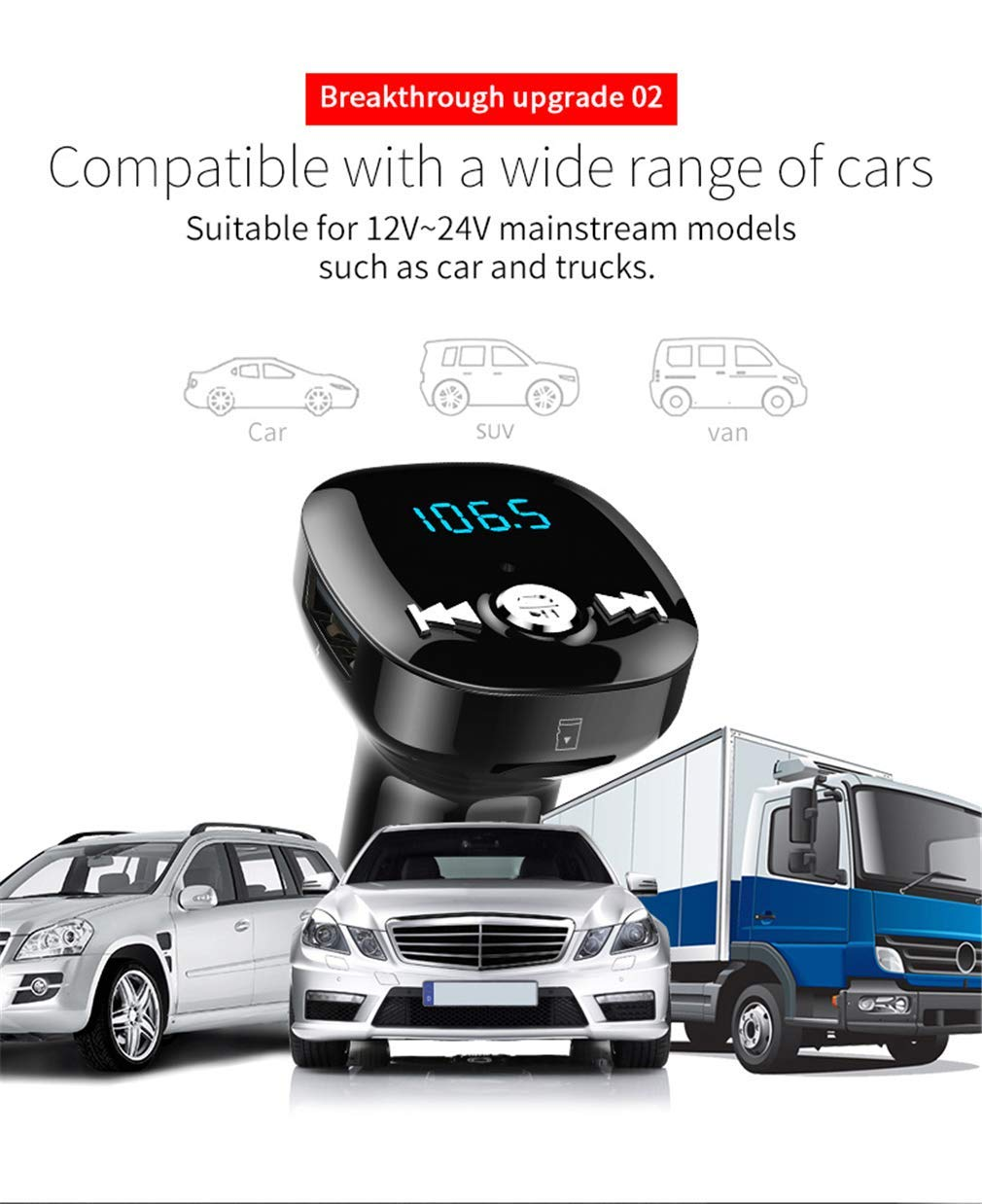 FM Transmitter MP3 Player Bluetooth Receiver/Hands Free Calling/Radio Adapter/Car Charger with Bluetooth 4.2/2 USB Ports Car Kit by Nwbdqc (Image #3)