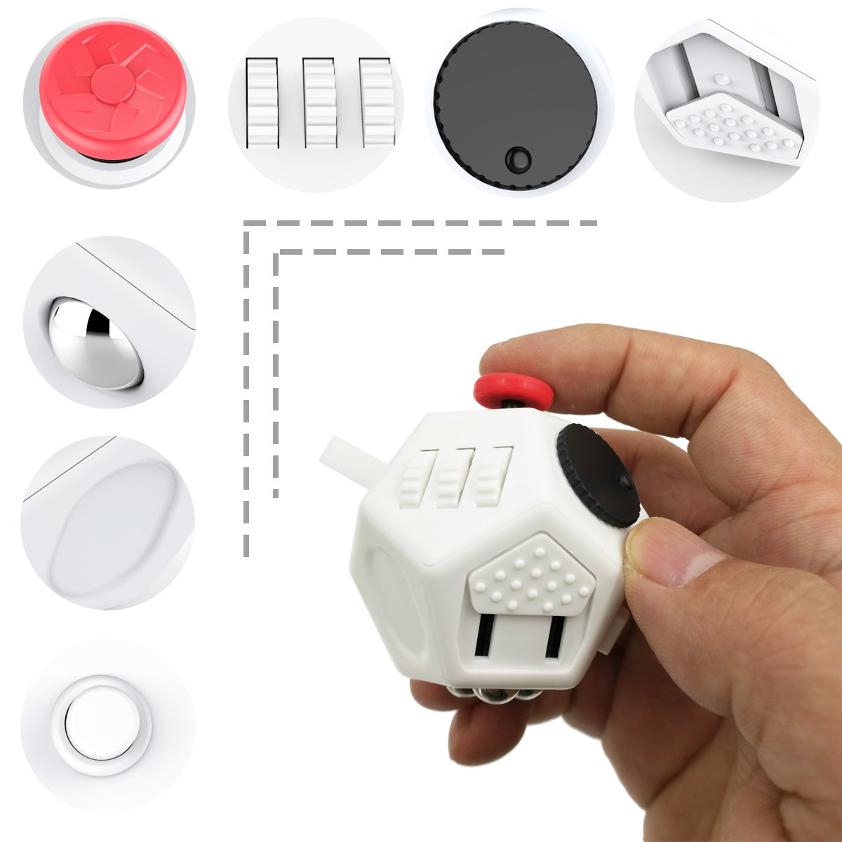 Minilopa Fidget Dodecagon -12 Side Fidget Toy Cube Relieves Stress and Anxiety Anti Depression Cube for Children and Adults with ADHD ADD OCD Autism (E2 Small White) by Minilopa (Image #5)