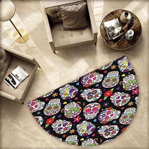 Sugar Skull Semicircular Cushion Festive Graveyard Mexico Ritual Figures Mask Design on Black Backdrop Print Entry Door Mat H 78.7'' xD 118.1'' Multicolor by homehot (Image #4)