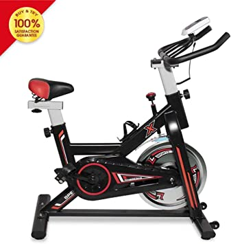 LTTROMAT Exercise Bike Indoor Cycling Bike Spinning Bicycle Stationary Bike With LCD Display And Heart Rate Adjustable For Home Office Cardio Workout Training For Home Fitness Bicycle Equipment, Black...