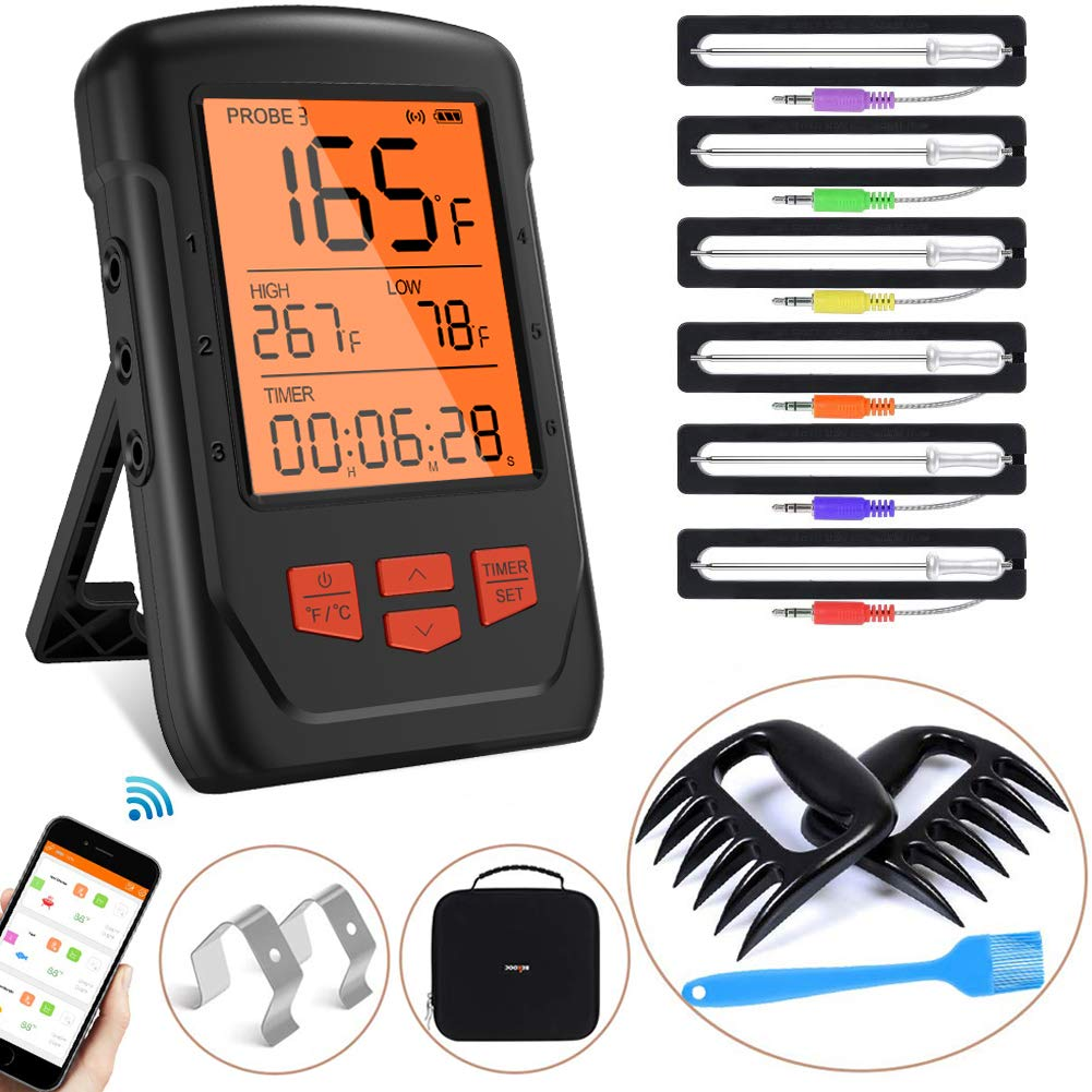 Bluetooth Meat Thermometer, Wireless Digital BBQ Cooking Thermometer for Oven Grill, 6 Probes Meat Thermometer for Grilling, Smoker, Kitchen Food, Smart Alarm Monitor & Timer, Support iOS & Android