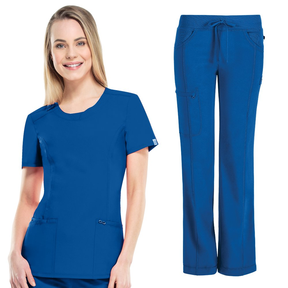 Royal Cherokee Infinity Womens 2624A Round Neck Top & 1123A Pant Scrub Set