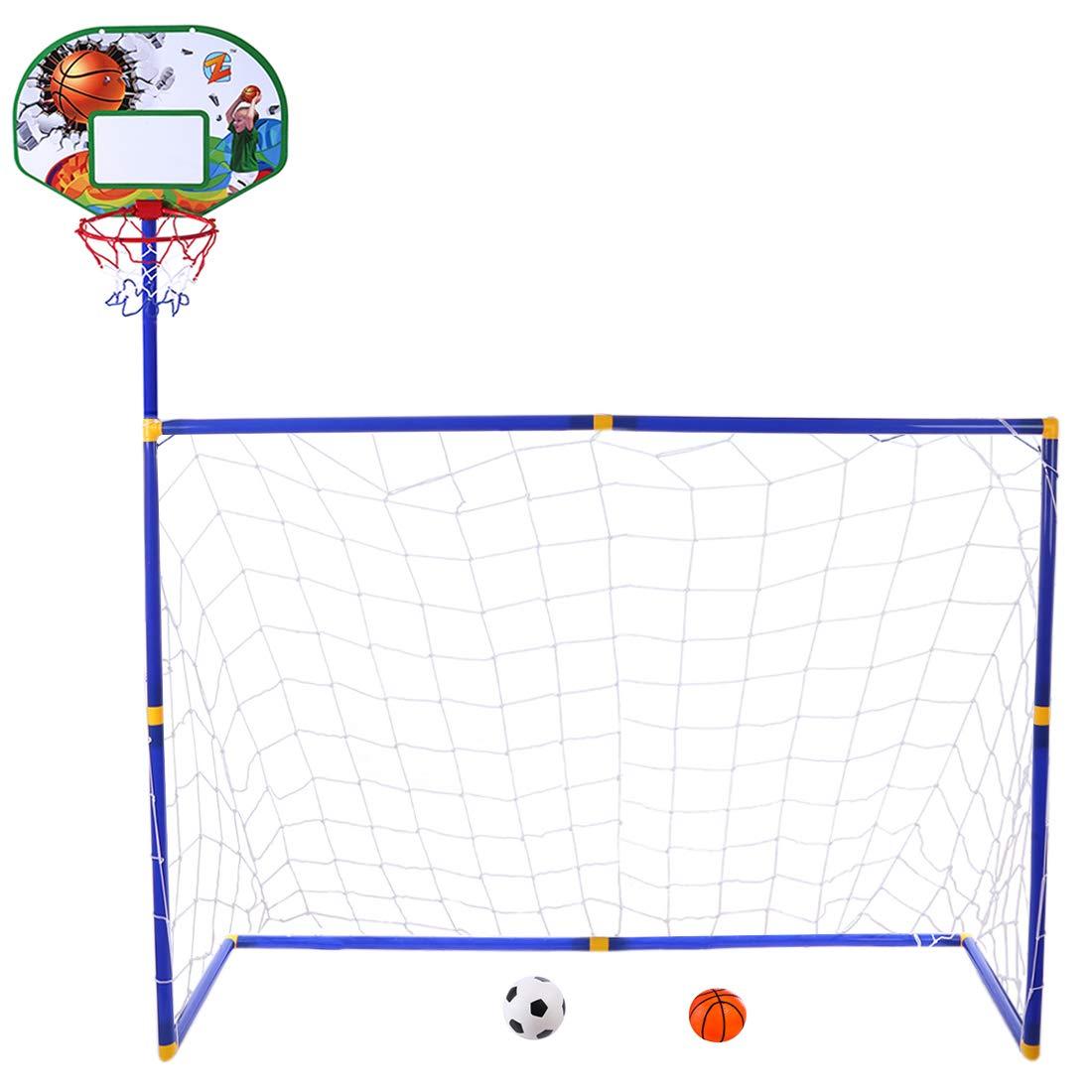 YAKOK Porta da Calcio Bambini, 115.5* 108* 45.5cm Bambini da Calcio e Pallacanestro Hoop Set per Calcio per Bambini Indoor e Outdoor Sport, Box Package, Brown, Blue, 158 * 158 * 45.5CM