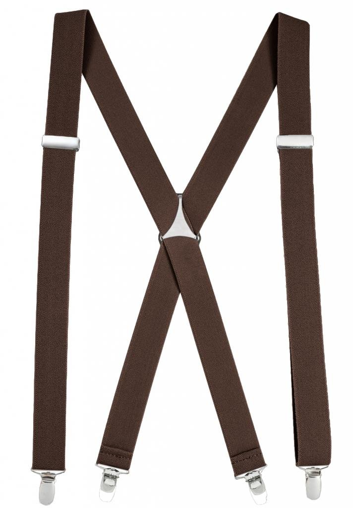 Mens Elastic X-Back Adjustable Straight Clip On Suspenders - Brown (Regular 46'' Long)