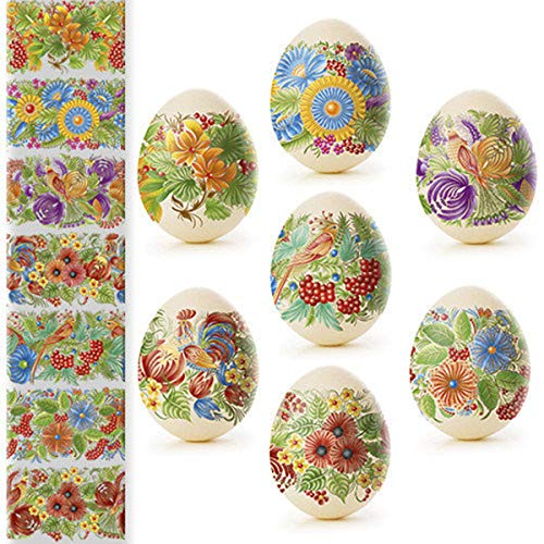 Ukrainian Heat Shrink Wrap Sleeve Decoration Easter Egg Stickers Wrappers Pysanka Arounds Set ()