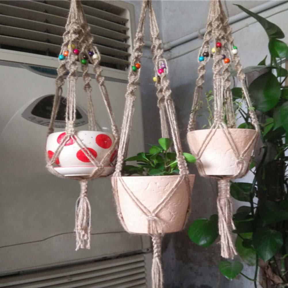 Behavetw Rope Hanging Planter, Sturdy Plant Hanger Macrame Plant Pot Holder Cotton Rope Hanging Planter Basket Home Decoration
