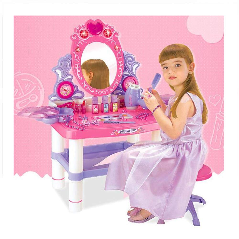 JFMBJS Girls Princess Themed Vanity Dressing Table, Kids Pretend Play Table and Chair Beauty Play Set,with 16 Makeup Accessories and Flashing Lights