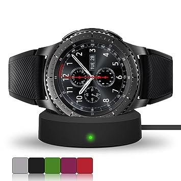 Soporte de carga inalámbrico, con cable USB, para reloj inteligente Samsung Gear S3, Classic/S3 Frontier, de iFeeker, negro: Amazon.es: Deportes y aire ...
