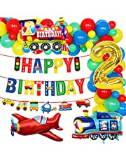 Transportation 2nd Birthday Party Supplies Vehicle Balloon Garland Kit for Boys with Train Airplane Balloons Happy Birthday Banner Transportation Bday Decorations