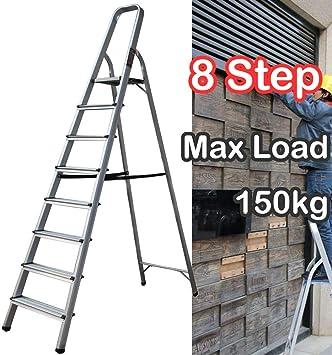 Taburete escalera plegable de 8 peldaños de aluminio ligero con plataforma de seguridad antideslizante, perfecto para el hogar, la escuela, la oficina, el mercado: Amazon.es: Bricolaje y herramientas