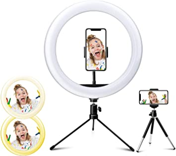Hiroumer LED 10.2 Desktop Selfie Ring Light with Tripod Stand /& Remote Control /&10 Brightness Level /& 3 Light Modes and 120 Bulbs 6000k for YouTube Video//Live Stream//Makeup//Photography for iPhone And