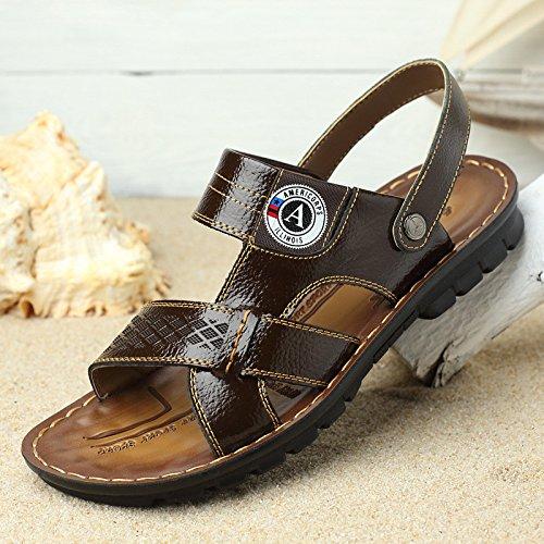 As Novas Sandálias De Praia Verão Homens Solo Macio Sapato Tendência Diária De Couro Real Respirável, Marrom, Nós = 7,5, Uk = 7, Eu = 40 2/3, Cn = 41