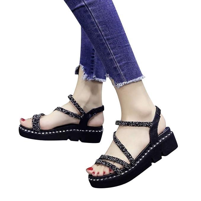 b01ba202f4f9d Sandalias Mujer Verano 2019 Plataforma Verano Mujer Cuñas de Moda Sandalias  de Cristal de Las Mujeres Peep Toe Zapatos Casuales Sandalias de Vestir ...