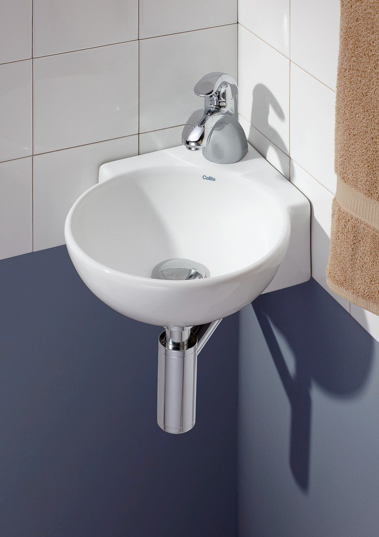 Cheviot Products Inc 1349-WH-1 Corner Wall Mount//Vessel Sink White
