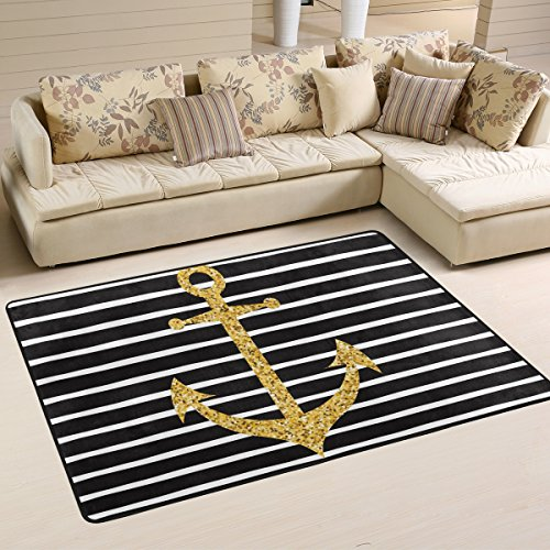 Naanle Gold Glitter Stripe Anchor Non Slip Area Rug for Living Dinning Room Bedroom Kitchen, 2' x 3'(24 x 36 Inches), Nautical Anchor Nursery Rug Floor Carpet Yoga Mat