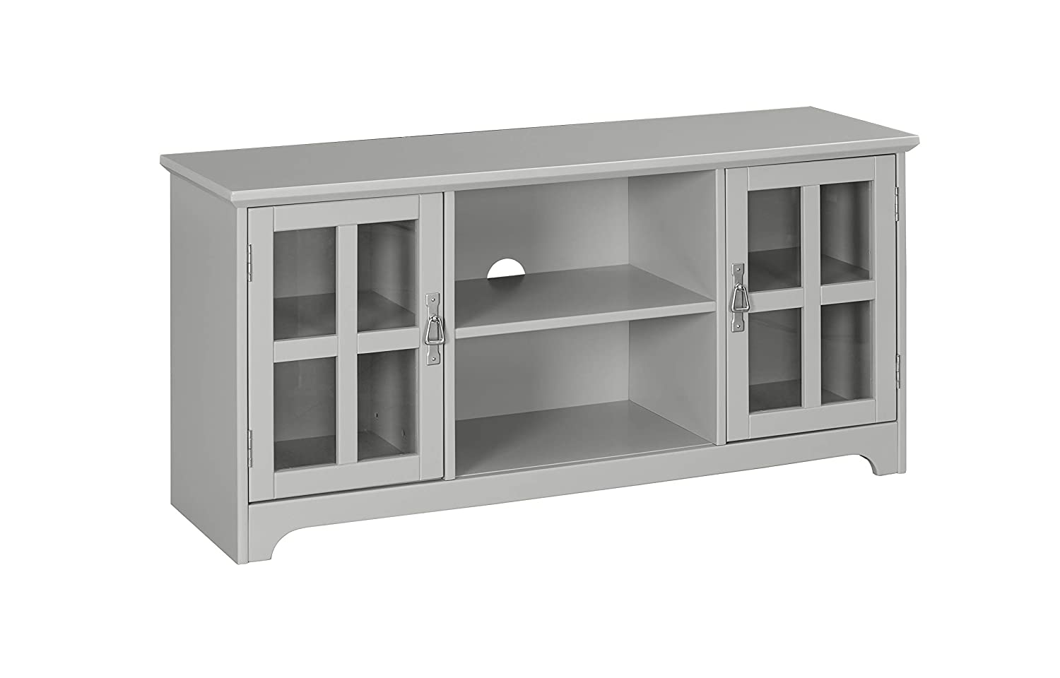 Ravenna Home Peterson Modern Glass Cabinet Storage TV Media Entertainment Console Stand, 46 W, Grey