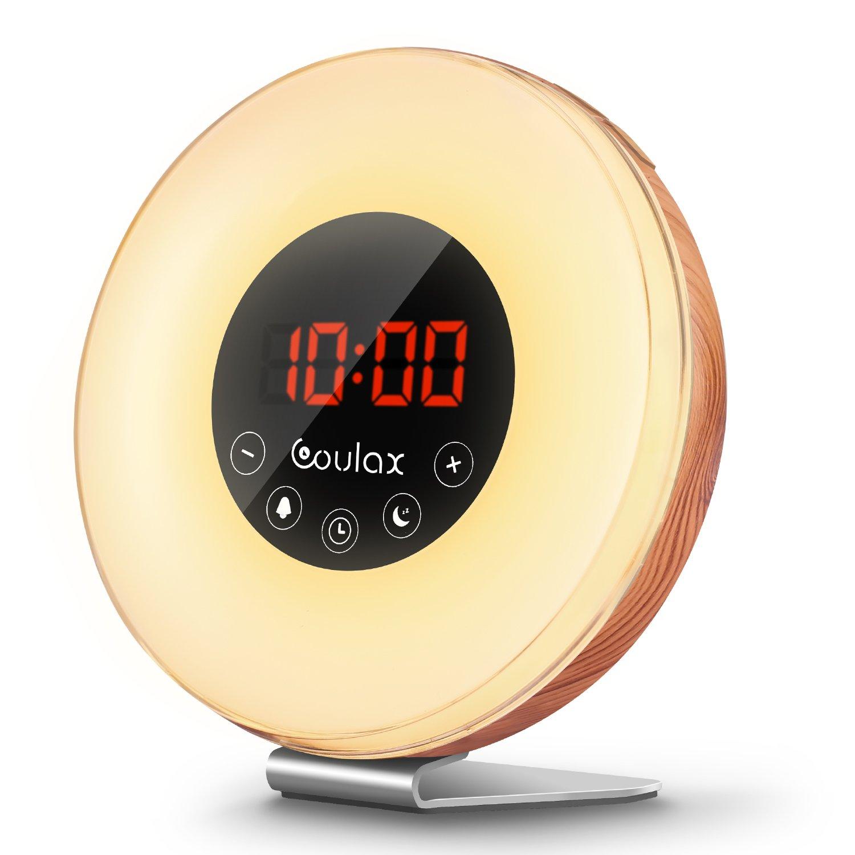 Holz Wake Up Licht Lichtwecker Wecker Sonnenaufgang mit 6 natürlichen Sounds & FM Radio Snooze Funktion Verblassenden Nachtlicht mit 7 Farben Touch Control Nachttischlampe für Erwachsene und Kinder product image