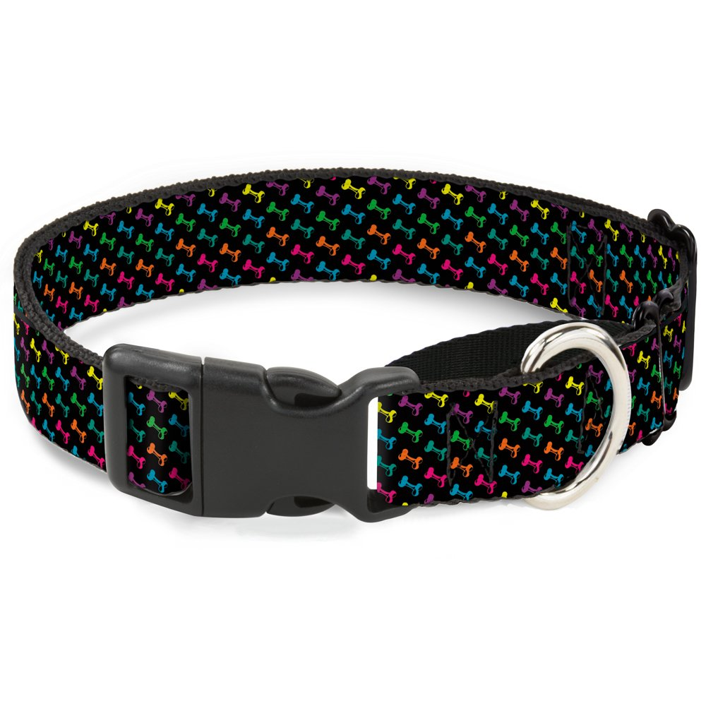 Buckle-Down Dog Bone Black Multi color Martingale Dog Collar, 1  Wide-Fits 15-26  Neck-Large