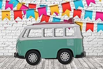 Photocall Coche de Juguete Furgoneta Turquesa Lateral Eventos o Celebraciones | Medidas 2,00 mx 1,36 m | Fiestas y Celebraciones | Cartón Microcanal