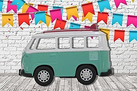 Fiestas y Celebraciones Cart/ón Microcanal Medidas 2,00 m x 1,36 m Photocall Coche de Juguete Furgoneta Turquesa Lateral Eventos o Celebraciones