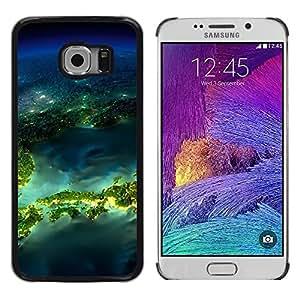 TopCaseStore / la caja del caucho duro de la cubierta de protección de la piel - Island Planet Earth Space - Samsung Galaxy S6 EDGE SM-G925