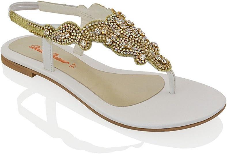 Essex Glam Womens Flat Sandals Diamante