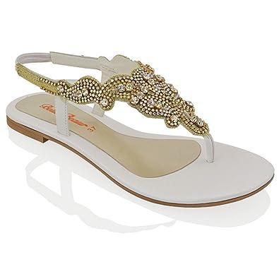 48bc58948b2f ESSEX GLAM Womens Diamante Slingback Toe Post Flat Sandals (5 B(M) US