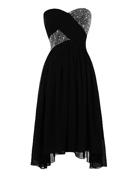 MyProms Women\'s Short Chiffon Prom Dress Strapless Crystal ...