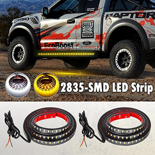 D Side Bed Light Tailgate Light Bar Strip - Amber/White Running Reverse Brake Turn Signal Tail Running Parking for Ford GMC Dodge Toyota Nissan Honda Truck SUV (Pack of 2) ()