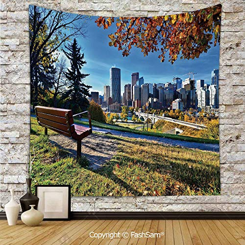 FashSam Tapestry Wall Hanging Park Bench Overlooking The Skyline of Calgary Alberta During Autumn Tranquil Urban Tapestries Dorm Living Room Bedroom(W39xL59)]()