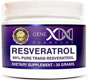 Genex Resveratrol Powder 1000mg Serving 99% Pure Micronized Pharmaceutical Grade Trans-Resveratrol Powder 1000mg 30Grams 1Gram Per Day 30-Day Supply Made in a GMP & NSF Certified Facility