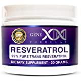 Genex Resveratrol Powder 1000mg Serving 99% Pure Micronized Pharmaceutical Grade Trans-Resveratrol Powder 1000mg 30Grams 1Gram Per Day 30-Day Supply Made in a GMP, FDA & NSF Certified Facility