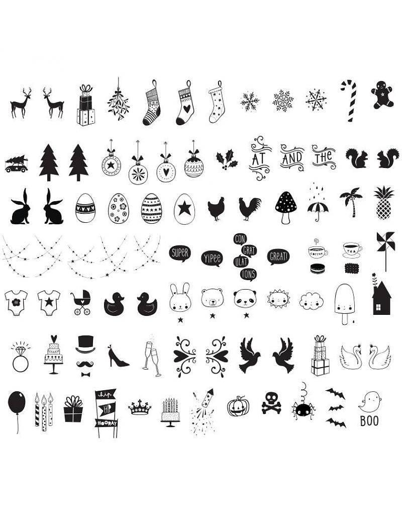 Kit 85 Simboli Natalizi per Lightbox A4 e A5 A Little lovely Company