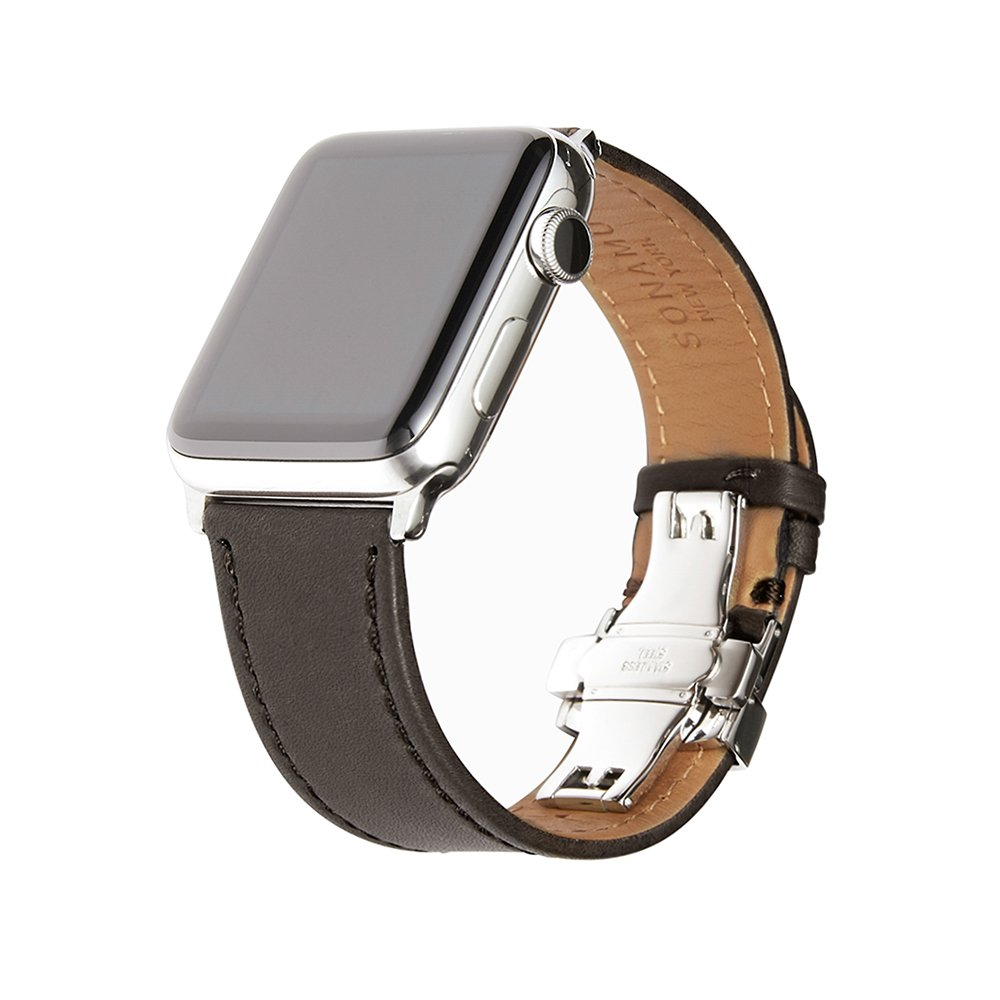 SONAMU New York, Apple Watch Band 42mm / 44mm, French Barenia Premium Leather Strap Compatible with Apple Watch Leather Band Stainless Steel Clasp, Gray by SONAMU New York