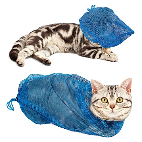 Pawaboo Cat Grooming Bag, Cat Muzzle Adjustable Polyester Mesh Restraint Bag [Head Bag + Body Bag] for Bathing Nail Clipping Cleaning (Blue)