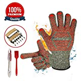 grill oven brush - BBQ set-932℉ Extreme High Heat Resistant Grill Oven / Cooking Gloves for Indoor and Outdoor Use, Meat Shredder Claws, Kitchen Tong, and Silicone Basting Brush Super Value of Four Barbecue Accessories