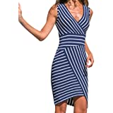 Indexp Dresses for Women Casual Summer,Women Striped Sleeveless V Neck Holiday Party Dress