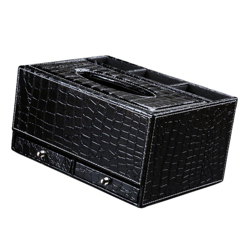 28,5x17,5x13cm Schubladen Schwarz Sharplace PU Leder Taschentuchbox Taschentuchspender Kosmetikt/ücherbox Kosmetikt/ücher Serviette Halter Veranstalter Schreibtisch Tidy Box