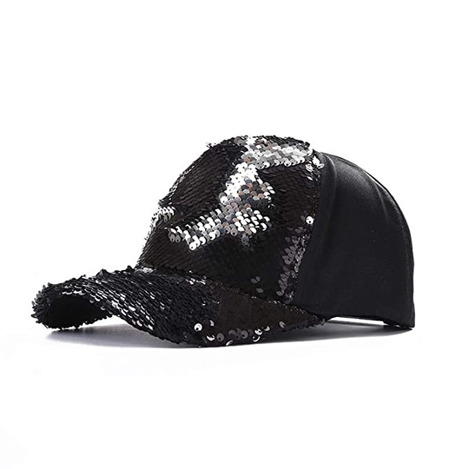 ca7ef88ae4198 Jeremy Stone Fashion Casual Ponytail Baseball Cap Women Adjustable Hat  Sequins Shine Hip Hop Caps for Glitter Mesh Hat Black at Amazon Women s  Clothing ...