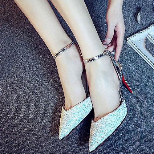 DKFJKI Talons Hauts Talons Hauts Pointu Chaussures Professionnelles Chaussures de Soirée Mode White DxuyqH1