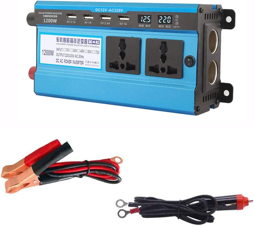 DAETNG 2200W Car Power Inverter DC 12V to AC 220V Vehicle Converter Power Supply Switch On-board Charger With Digital Dual Display And 4 USB Ports for Kinds of Sockets,1200W-12V