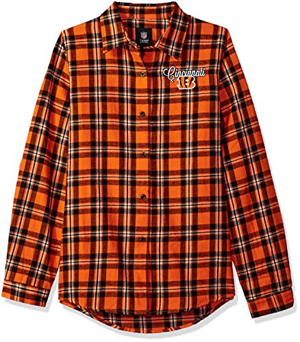 Cincinnati Bengals 2016 Wordmark Basic Flannel Shirt - Womens Medium by Forever Collectibles