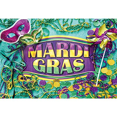 Baocicco 5x3ft Mardi Gras Backdrop Masked Ball Backdrop Mysterious Mask Colorful Coins Beads Decor Photography Background Masquerade Carnival Theme Birthday Party Girls Adults -
