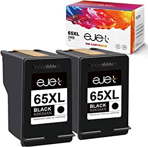 ejet Remanufactured Ink Cartridge Replacement for HP 65 XL 65XL Ink Cartridge to use with Envy 5052 5055 5058 DeskJet 2622 3755 2624 2652 2655 3720 3752 3721 3722 3723 3730 3732 3758 Printer (2 Black)