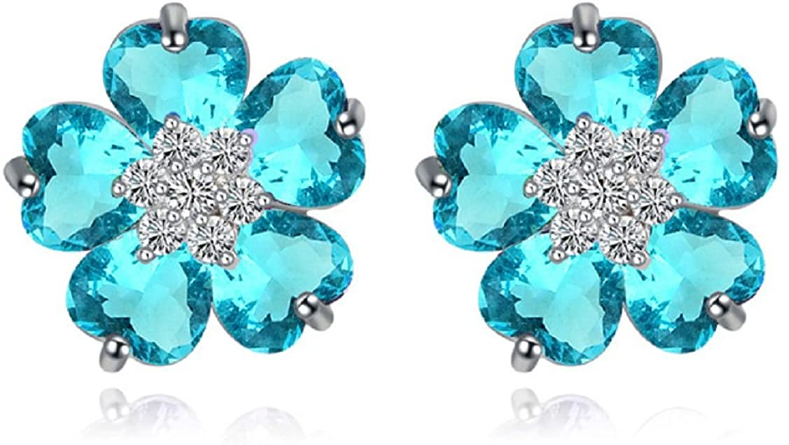Pendientes de tuerca, diseño de flores azul aguamarina, circonitas, cristales austriacos, chapados en oro blanco de 18 quilates, para mujer