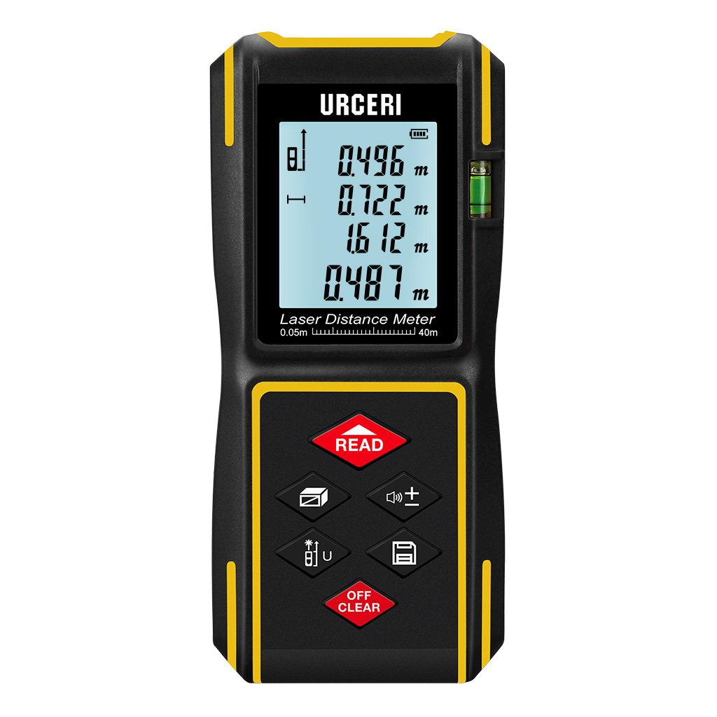 Laser Measure Laser Distance Meter Digital 131ft with Mute Function,LCD Backlit Display and Bubble Levels, Measure Distance,Area and Volume,Pythagorean,Battery Included by URCERI