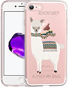 Unov Case for iPhone SE (2020) iPhone 8 iPhone 7 Clear with Design Embossed Pattern TPU Soft Bumper Shock Absorption Slim Protective Back Cover 4.7 Inch (Alpaca Bags)