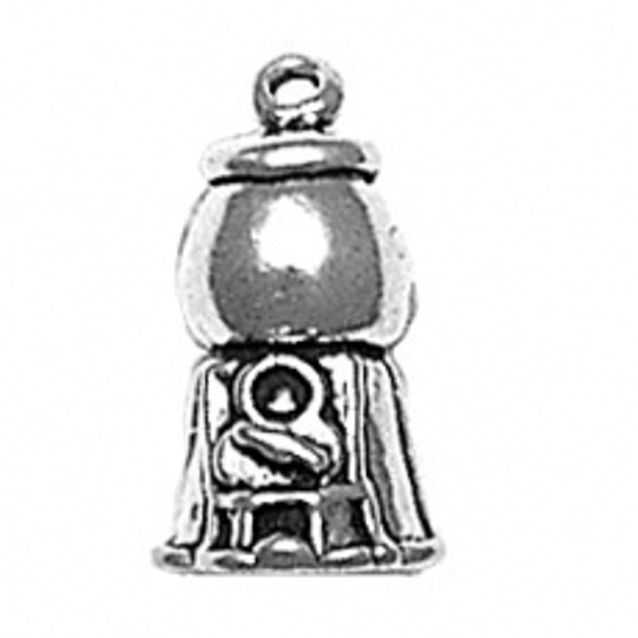 Sterling Silver 7 4.5mm Charm Bracelet With Attached 3D Bubble Gum Gumball Machine Charm
