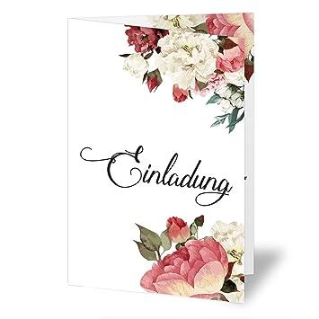 20 X Hochzeitseinladungen Blumen Rosen Hochzeitskarten