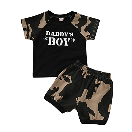 461b0e6a9 Amazon.com  Baby Boys Clothes Daddy s Boy Camouflage Short Sleeve T ...